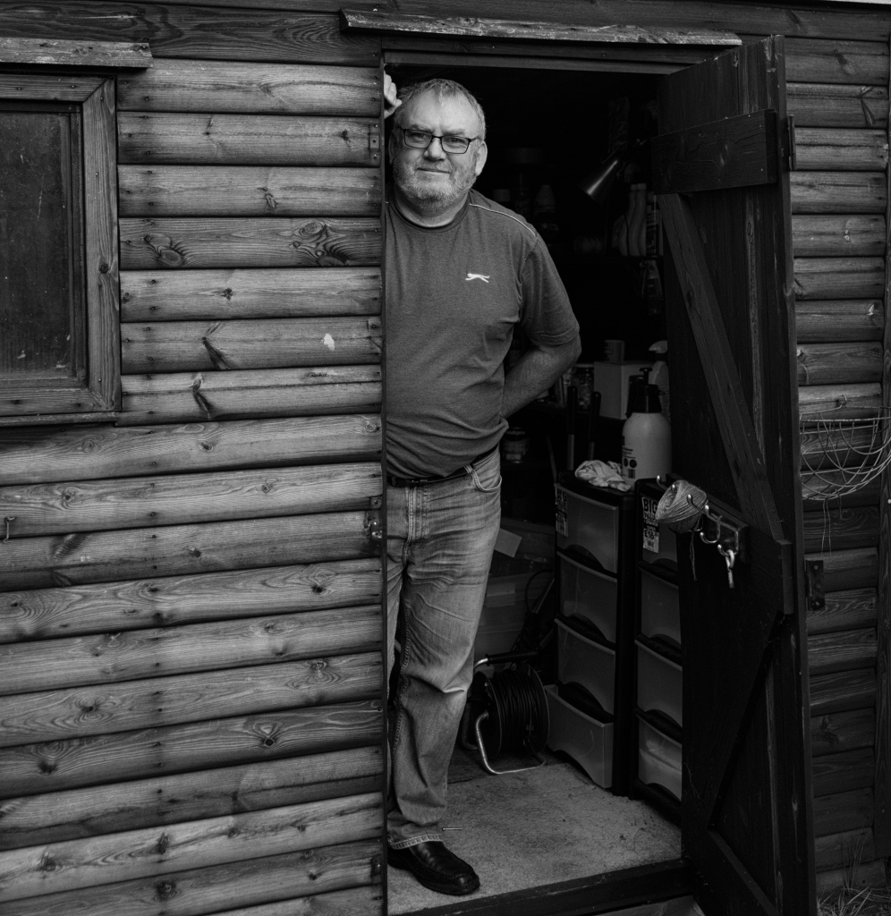 Paul and Shed Black and White